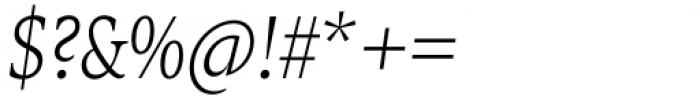 Zin Serif Condensed Light Italic Font OTHER CHARS