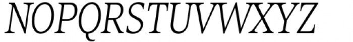 Zin Serif Condensed Light Italic Font UPPERCASE