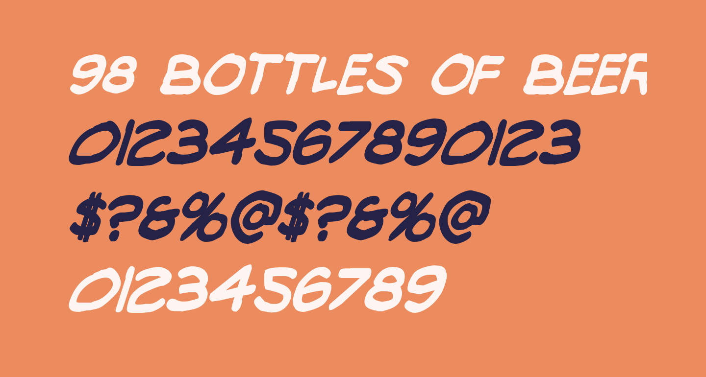 98 Bottles of Beer Bold Condensed Italic