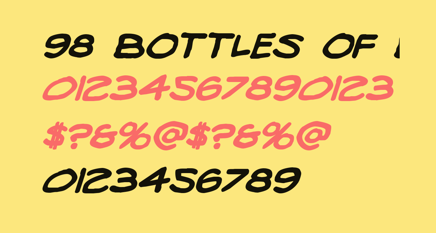 98 Bottles of Beer Bold Italic