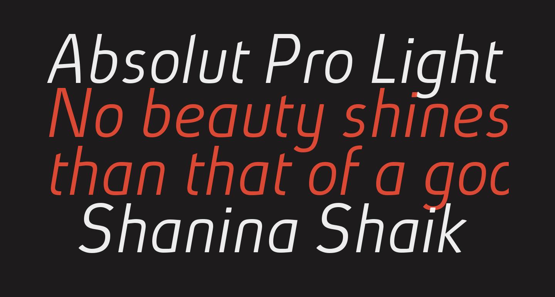 Absolut Pro Light Italic reduced