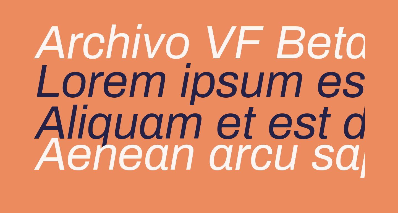 Archivo VF Beta Italic