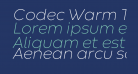 Codec Warm Trial ExtraLight Italic