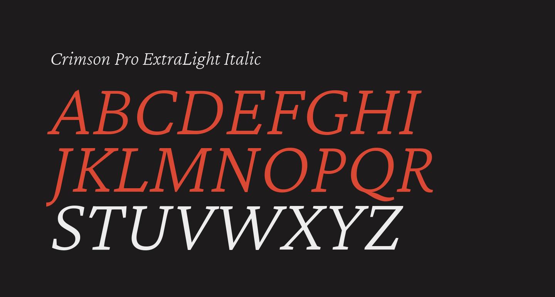 Crimson Pro ExtraLight Italic