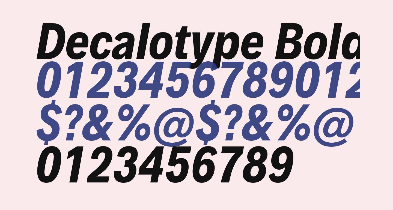 Decalotype Bold Italic