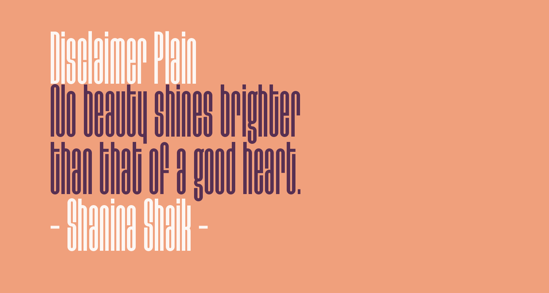 Disclaimer Plain
