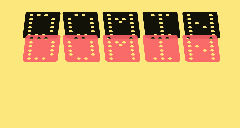 Domino flad kursiv