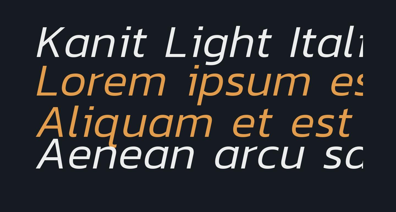 Kanit Light Italic