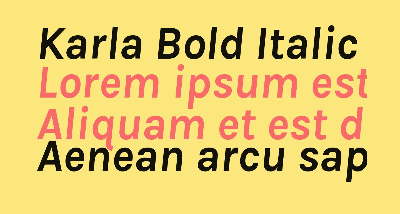 Karla Bold Italic