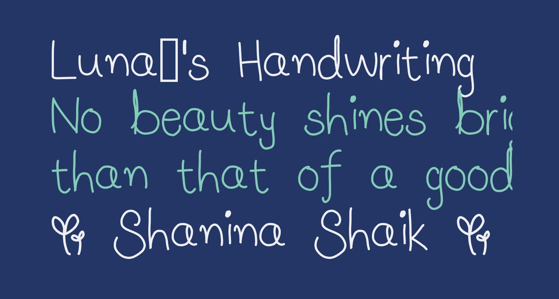 Luna's Handwriting