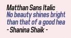 Matthan Sans Italic