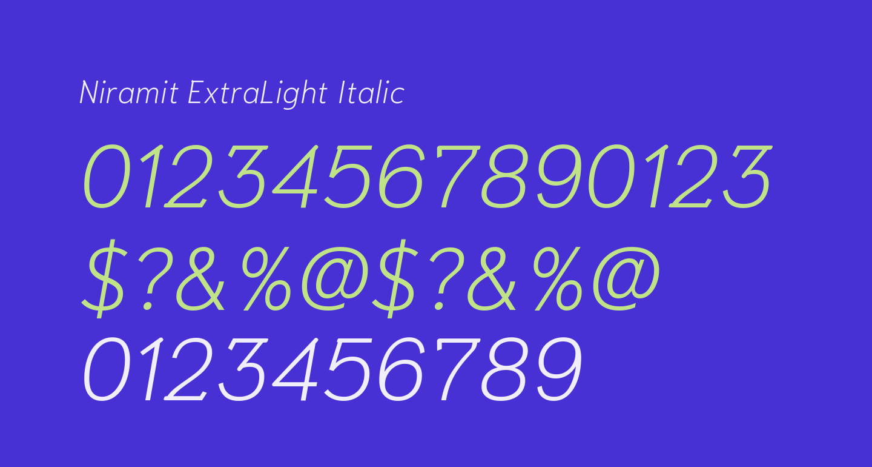 Niramit ExtraLight Italic