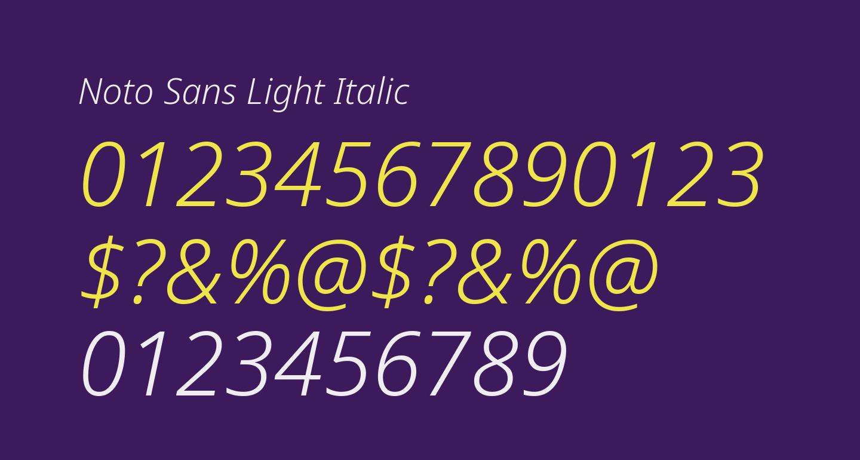 Noto Sans Light Italic