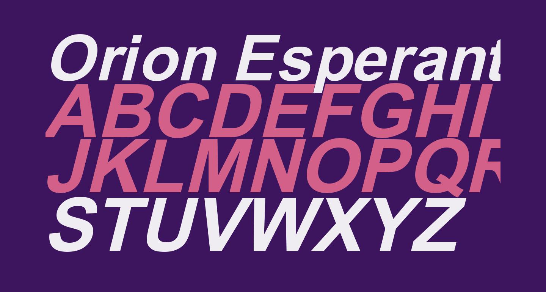 Orion Esperanto Dika Kursiva