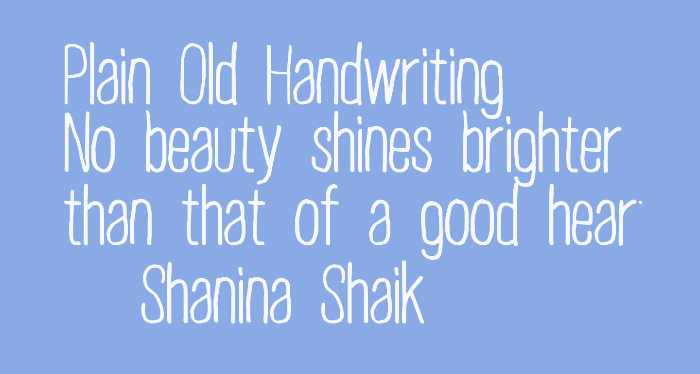 Plain Old Handwriting