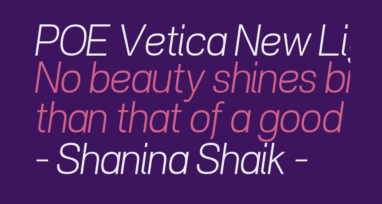 POE Vetica New Light Italic