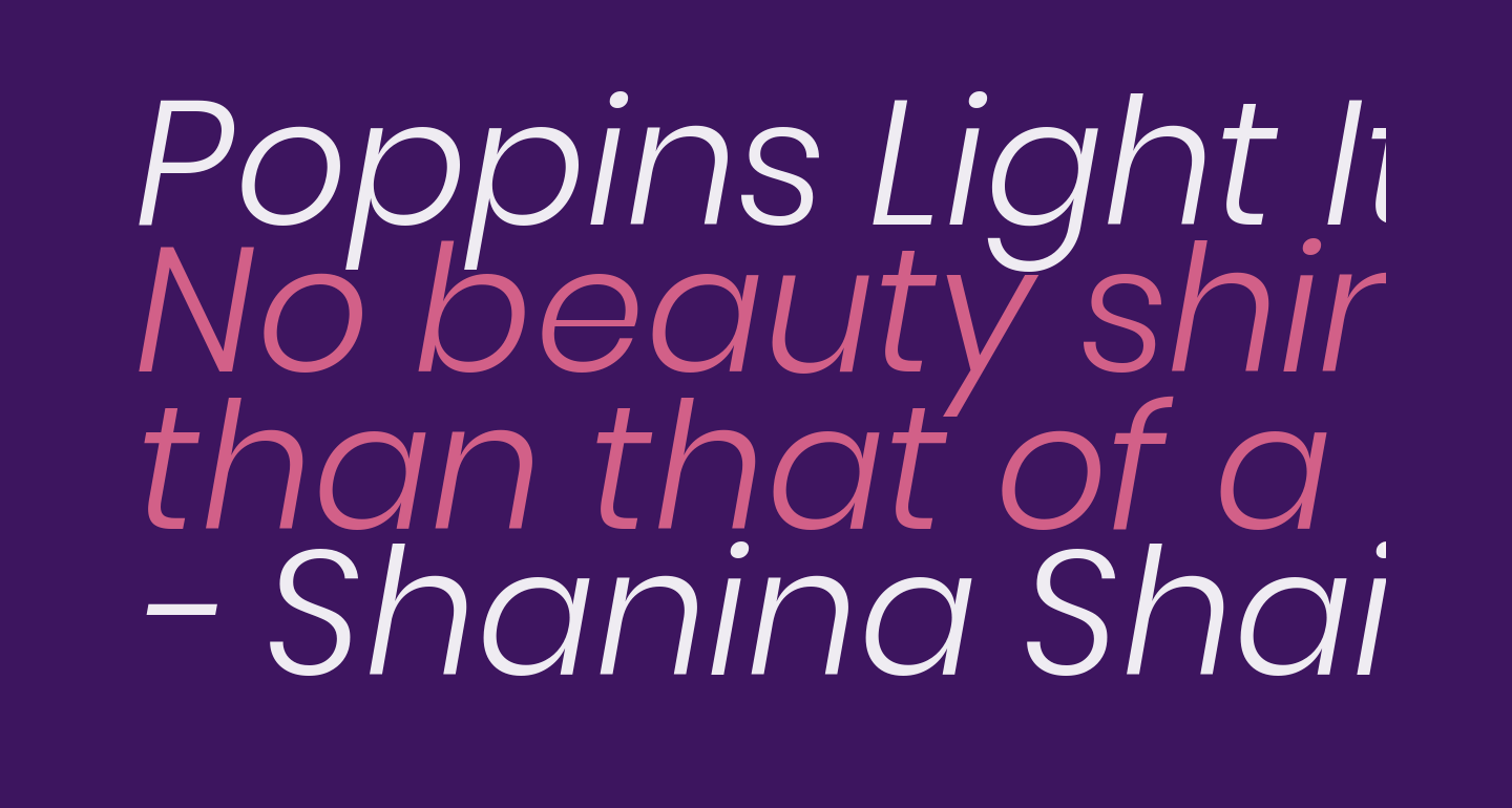Poppins Light Italic