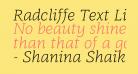 Radcliffe Text Light Italic