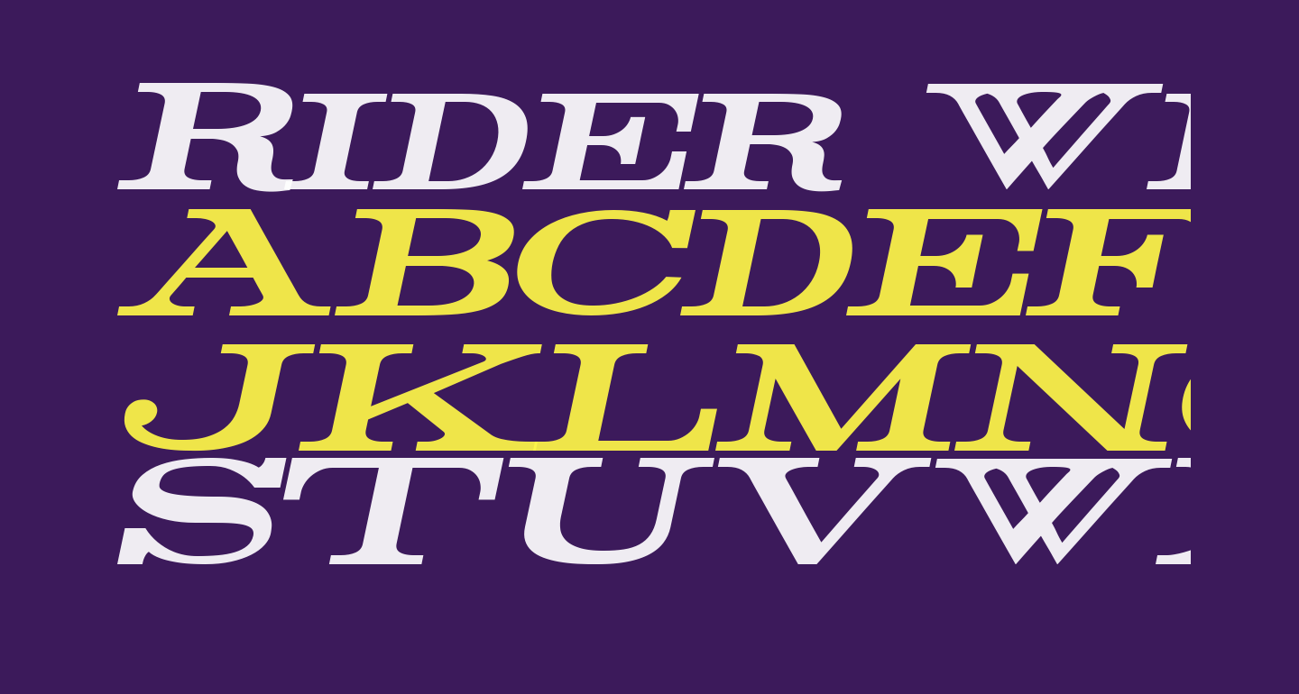 Rider Wide Expanded Bold Italic