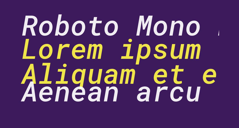 Roboto Mono Medium Italic