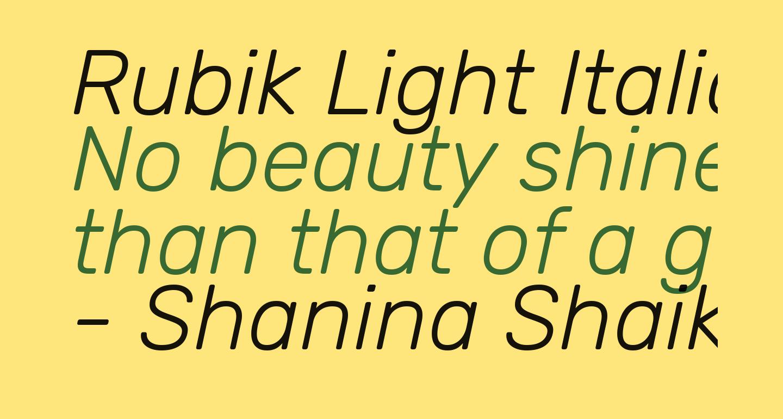 Rubik Light Italic
