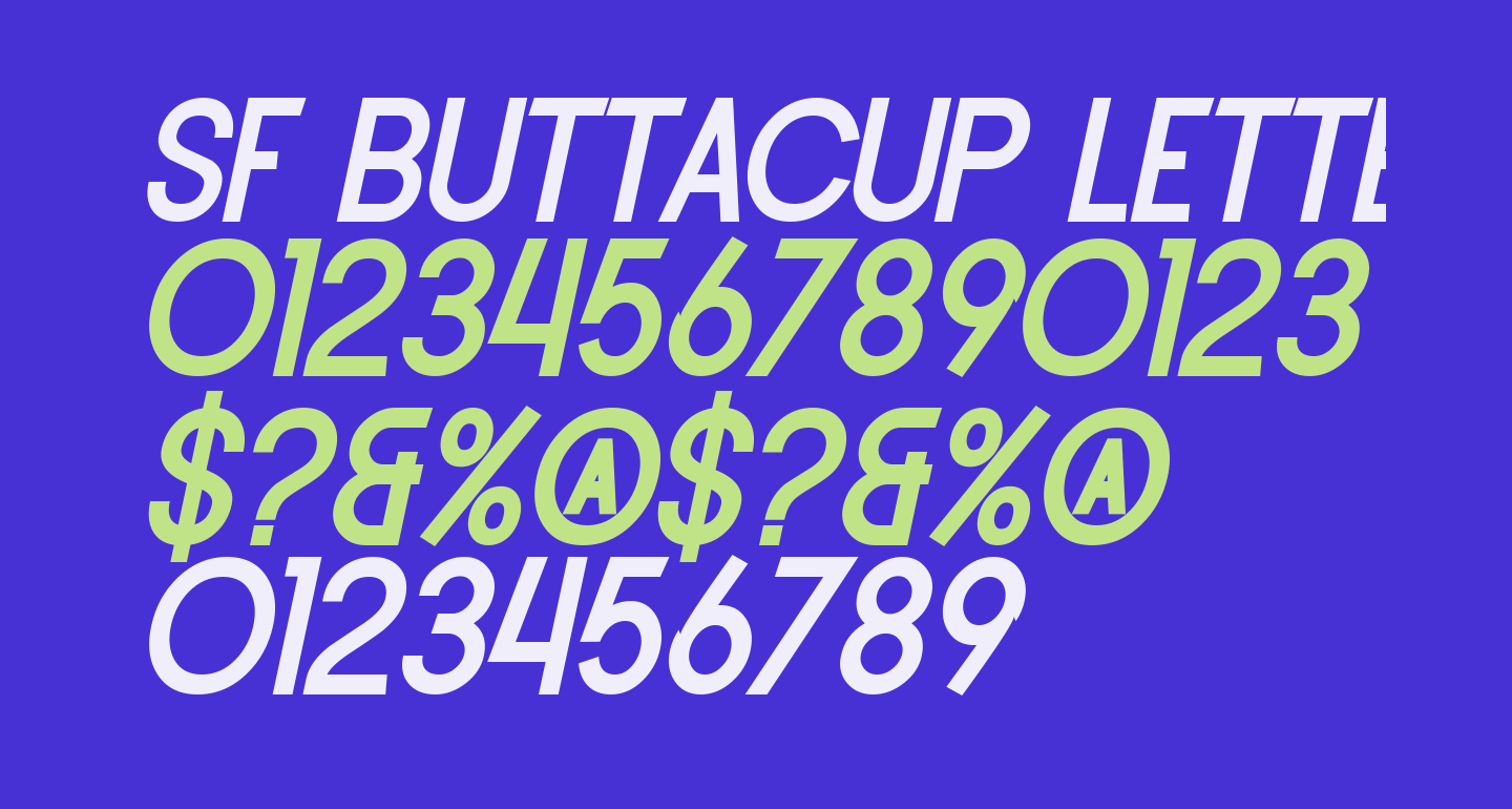 SF Buttacup Lettering Bold Oblique