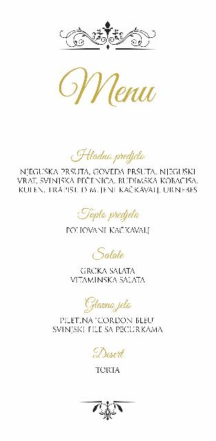 Menu for wedding